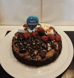nutella/brownie/raspberries/oreo/fried marshmallows cake